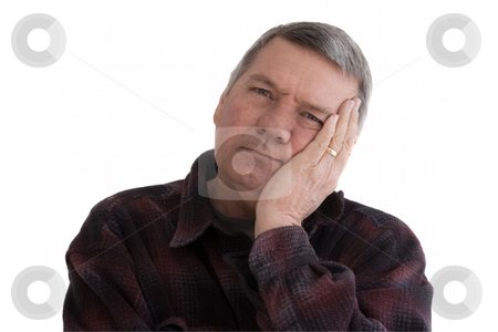 Portrait of senior man, isolated on white. stock photo, Portrait of 57 year old senior man wearing a dark flannel shirt and resting his head on his hand.  Isolated on white background. by Steve Carroll