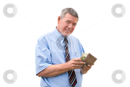 Mature businessman reluctantly paying a bill stock photo, Mazture  businessman reluctantly paying a bill, isolated on white background. by Steve Carroll