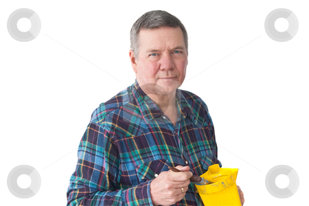 Portrait of Mature Handyman stock photo, Portrait of mature Handyman with paint container and brush, isolated on a white background. by Steve Carroll