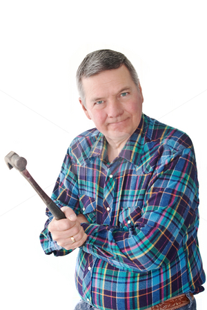 Angry Mature Handyman stock photo, Angry handyman holding hammer, isolated on a white background. by Steve Carroll