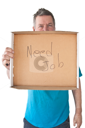 Distraught Mature Man Needs Job stock photo, Distraught mature man holding sign saying Needs Job, isolated on white background. by Steve Carroll