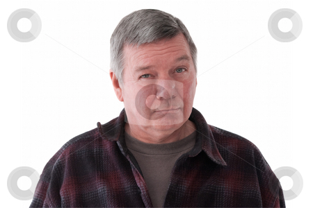 Portrait of sad senior man, isolated on white. stock photo, Portrait of a very sad 57 year old senior man wearing a dark flannel shirt, isolated on white background. by Steve Carroll