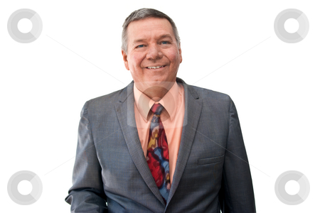 Portrait of Senior Businessman stock photo, Portrait of a senior businessman looking into the camera, smiling, isolated on a white background. by Steve Carroll