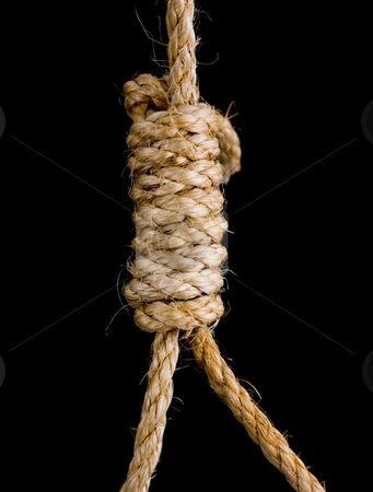 Noose knot stock photo, Close up of a noose knot on black background by John Teeter