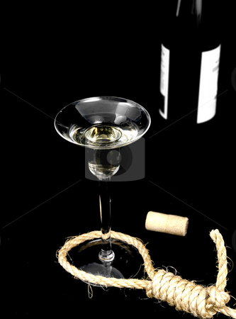 Alcoholism stock photo, Concept photo of alcoholism with noose and drink by John Teeter