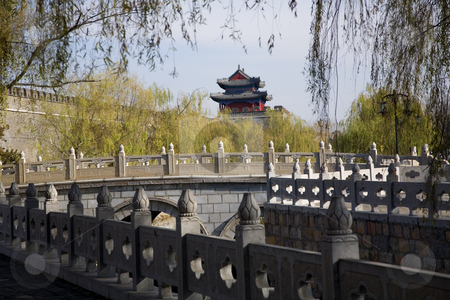 City Wall and Tower, Qufu, Shandong Province, China stock photo, City Wall and Tower, Qufu, Shandong Province, China.  This is Confucius City in Shandong Province. by William Perry