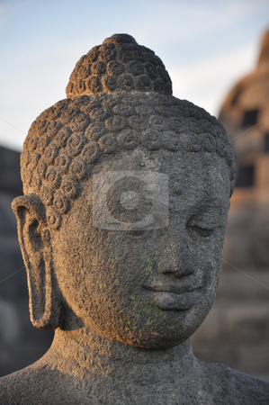 Borobudur Buddha stock photo, Buddha statue at Borobudur temple, Java, Indonesia by Daniel Rosner