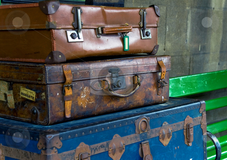 Old Travelling Suitcases stock photo,  by Robert Ford