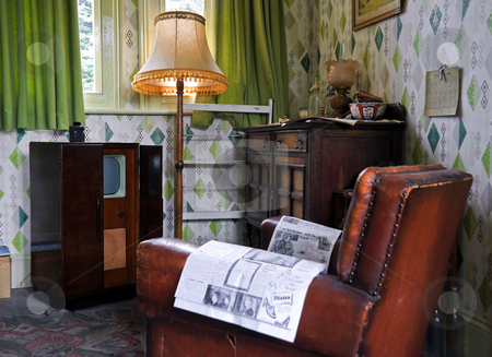 Retro Station Room stock photo, Managers Room retro style at Ropley train station England by Robert Ford