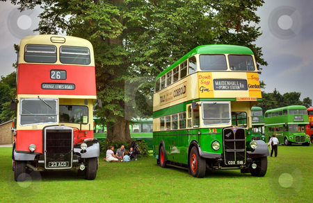 Picnic Time stock photo, Family having Picnic between two half cab double deckers at Alton Bus Rally by Robert Ford
