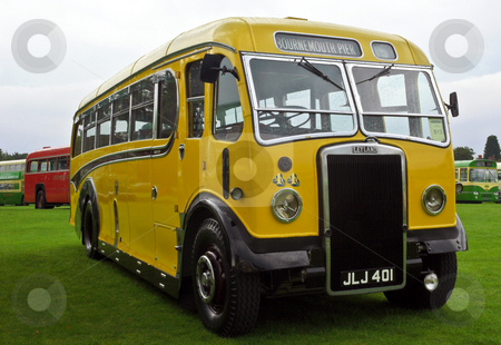 Yellow Bus Livery stock photo, Old single decker leyland bus in yellow buses livery at Alton bus rally by Robert Ford