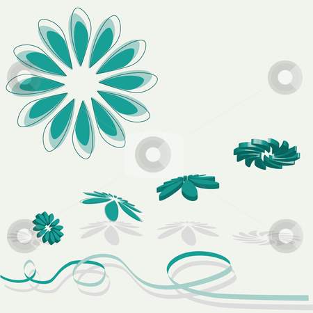 3D flying flowers in green stock vector clipart, 3D flying of a collection of green flowers with shade and ribbon by Karin Claus