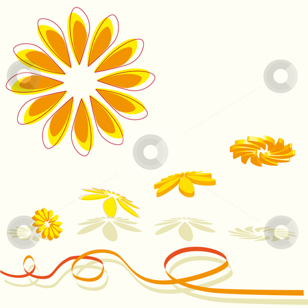 3D flying flowers in orange stock vector clipart, 3D flying of a collection of orange flowers with shade and ribbon by Karin Claus