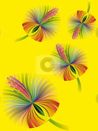 Yellow fantasy rainbow autumn leaves stock vector clipart, Fantasy wallpaper collection of rainbow colored autumn leaves on yellow by Karin Claus