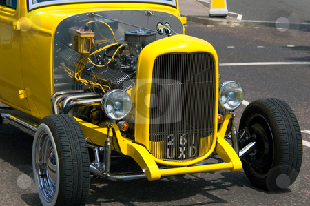 Front of Yellow Custom Car stock photo,  by Robert Ford