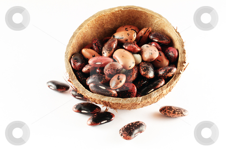 Buffalo beans stock photo, Buffalo beans in a coconut plate by Varga S??ndor