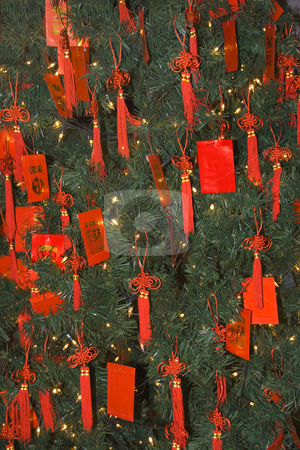 Chinese New Years Tree with Red Packets  Beijing China stock photo, Chinese Lunar New Years Tree with Red Packets Beijing China  At Lunar New Year, Chinese children are given red packet