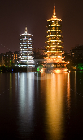 Gold and Silver Pagodas at Night Guilin, China stock photo, Sun, gold, and Moon, silver, Pagodas, Guilin, Guangxi, China at Night with Reflection by William Perry
