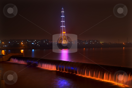 Radio Tower at Night Waterfall Fushun City Liaoning Province Chi stock photo, Electricity in Rural China, Radio Tower, waterfal at night with lightsl, Fuxin City, Liaoning Province, China by William Perry
