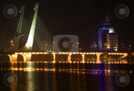 Tianhu Bridge Fushun Liaoning China at Night with Reflections stock photo, Tianhu Bridge, Hun River, Fushun, Shenyang, Liaoning Province, China Night Lights Rural Electricity Trademarks removed by William Perry