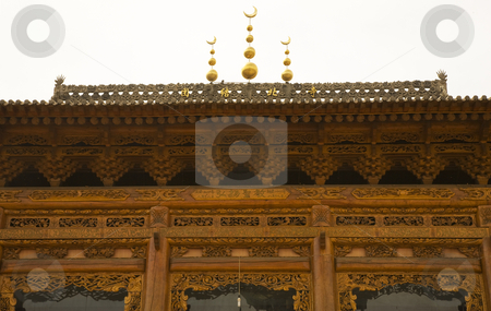 Ornate Wooden Mosque Close Up China stock photo, Ornate Wooden Mosque Close Up, Lanzhou City, Gansu Province, China Uighur area by William Perry