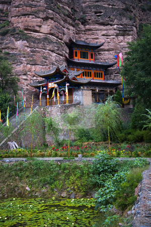Binglin Si Bright Spirit Buddhist Temple Lanzhou Gansu China stock photo, Binglin Si Bright Spirit Buddhist Temple Lanzhou Gansu China by William Perry