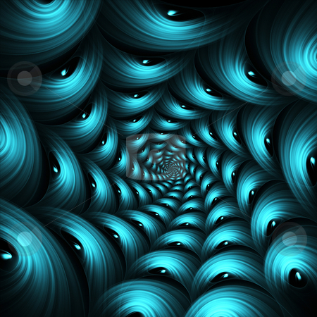 Turquoise Tunnel stock photo, Turquoise tunnel like fractal by Helen Shorey