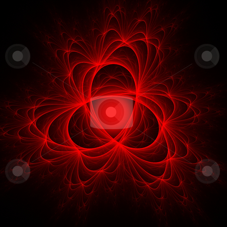 Red Electron Trails Fractal stock photo, Red and black intricate fractal by Helen Shorey