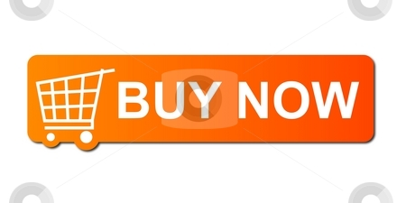 Buy Now Orange stock photo, Buy now button with a shopping cart on white background. by Henrik Lehnerer