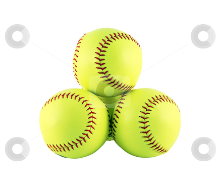 Softballs stock photo, Four softballs isolated on a white background by Stacy Barnett