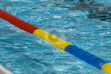 Swimming pool detail stock photo, Swimming pool water surface detail with floaters. by Gert-Jan Kappert
