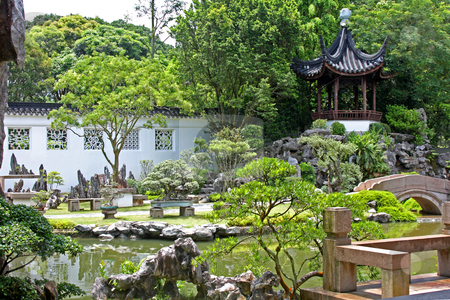 Chinese Garden in Singapore stock photo, Chinese Garden in Singapore ; photographed in October 2008 by Manuela Schueler