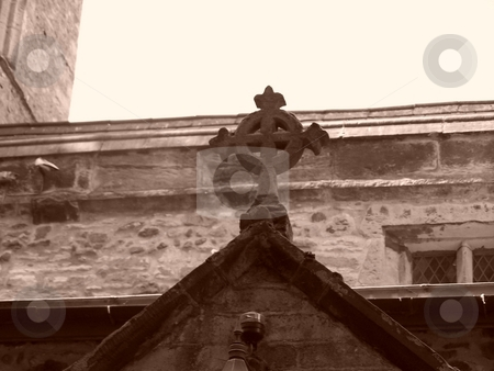 Church cross stock photo, Church cross in sepia by Lee Measures
