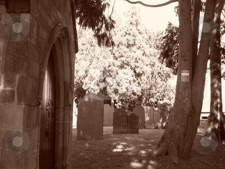 The graveyard stock photo, Graveyard in sepia by Lee Measures