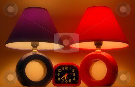 Two lamps stock photo, Red and blue night-lamps by Pavel Cheiko