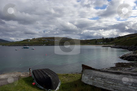 Pier stock photo, A small harbour bay with fishing boats showing in the north of scotland by Christian Rhein
