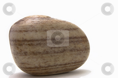 Beach pebble stock photo, Close-up of isolated beach pebble on white background by Christian Rhein
