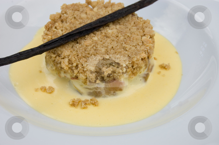 Rubarb crumble and custard with vanilla bean  stock photo, 45 degree shot of rhubarb crumle in white bowl plate with vanilla bean and custard by Christian Rhein