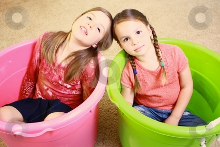 Two girls playing stock photo, Two girls playing by Gregory Dean