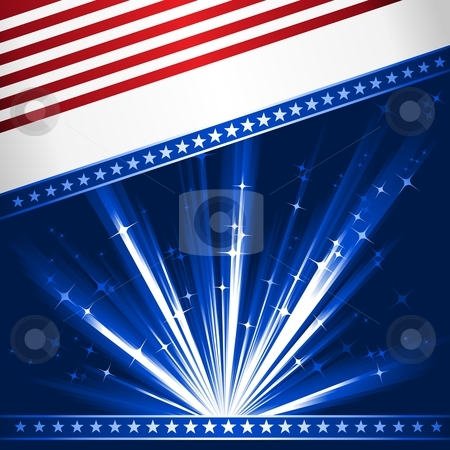 Stylized USA flag stock vector clipart, Stylized Stars and Stripes. Patriotic, 4th July celebration background. Use of 6 global linear gradients, 10 global colors. Artwork grouped and layered. by Ina Wendrock