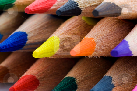 Colored pencils stock photo, Close up of colored pencils. Macro by Gabriele Mesaglio
