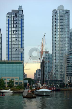 Toronto skyline stock photo, Toronto skyline and sailing vessel from Ontario lake by Pavel Cheiko