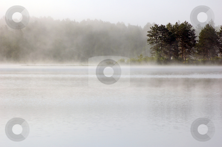 Fog stock photo, Fog above lake in the morning. Samuel de Champlain Prov. Park by Pavel Cheiko