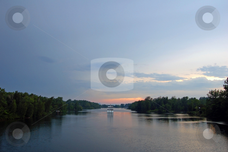 Boat stock photo, Boat Ontario lake cruise in time of sunset by Pavel Cheiko