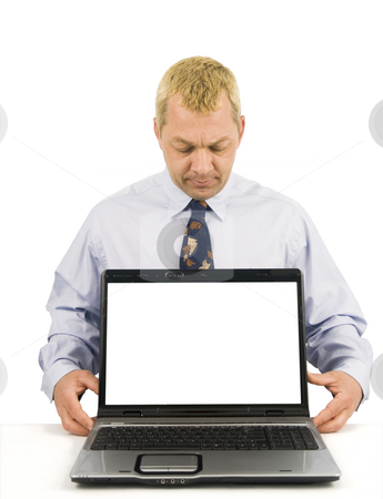 Business man presenting stock photo, Business man presenting on laptop with white background by John Teeter