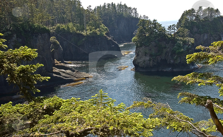 Cape Flattery Washington stock photo, Stunning ocean scene of Cape Flattery in Washington state, this is the most north western point of the continental United States. by Valerie Garner