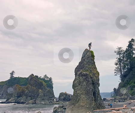 Day at Ruby Beach Washington stock photo, This is a cloudy day at Ruby Beach Washington on a typical day showing off the shore's great beauty with people being people. by Valerie Garner