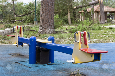 Seesaw stock photo, A old seesaw at a old playground by Kevin Tietz