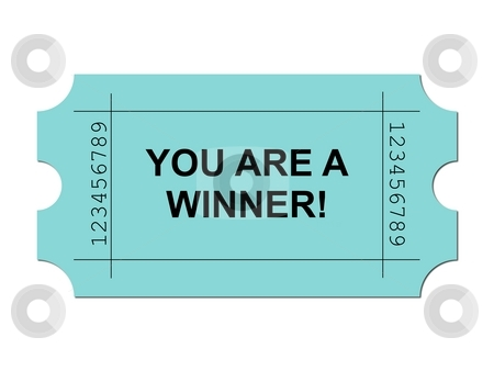 Ticket Green stock photo, Green ticket on white background with sample writing YOU ARE A WINNER by Henrik Lehnerer