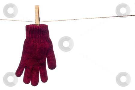 A horizontal image of a single red winter glove hanging on a clo stock photo, A horizontal image of a single red winter glove hanging on a clothes line by Vince Clements